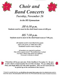 Choir and Band Concert information