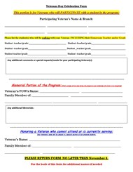 Veterans Day Celebration Form