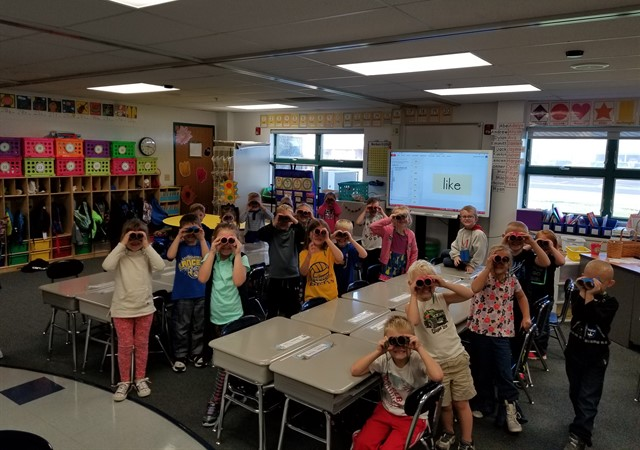 Kindergarten students enjoying an activity for their camp unit.